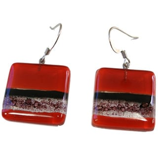 Handmade Square Fused Glass Red and Bubbles Earrings (Chile)