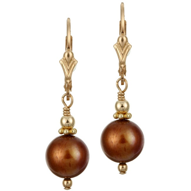 Lola's Jewelry 14k Goldfill Bronze Brown FW Pearl Earrings (9-10 mm)