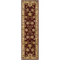 Safavieh Handmade Heritage Traditional Kashan Burgundy/ Beige Wool Runner - 2'3 x 10'