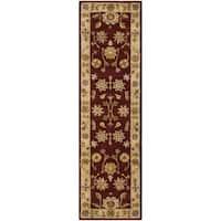 Safavieh Handmade Heritage Traditional Kashan Burgundy/ Beige Wool Runner (2'3 x 12')