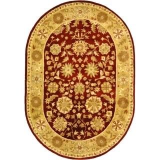 Safavieh Handmade Heritage Traditional Kashan Burgundy/ Beige Wool Rug (7'6 x 9'6 Oval)