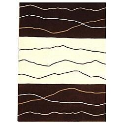 Waves Brown/ Cream Rug (5' x 8')