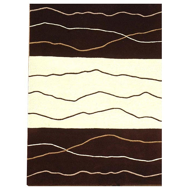 Waves Brown/ Cream Rug - 8' x 10'6