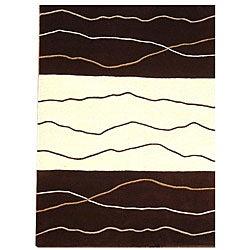 Waves Brown/ Cream Rug - 8' x 10'6 - Thumbnail 0