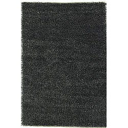 Hand-woven Black/ White Polyester Rug (5' x 8')