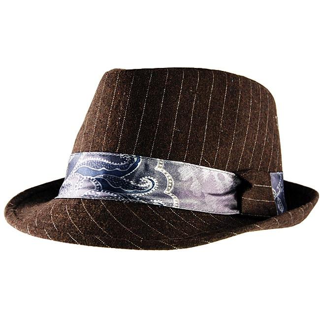 Yesac Unisex Brown Pinstriped Fedora Hat