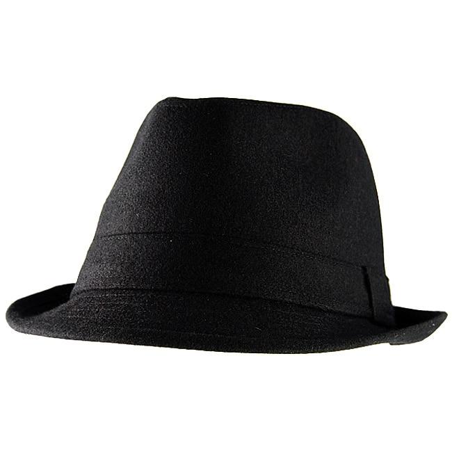 Yesac Unisex Black Wool Fedora Hat