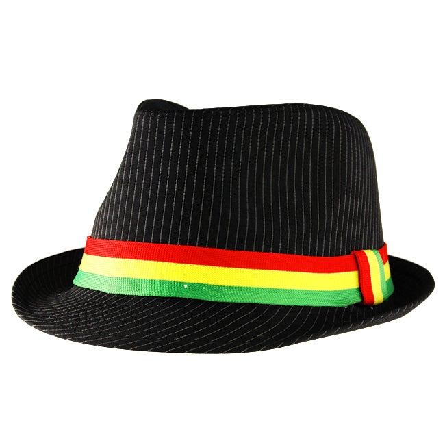Unisex Black Pinstriped Jamaican Fedora Hat