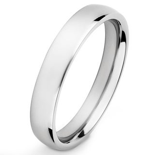 Men's High Polish Titanium Traditional Wedding Band - 4mm Wide - Silver