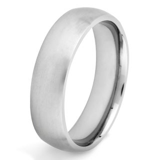 Crucible Brushed Titanium Domed Comfort-Fit Ring (6mm)