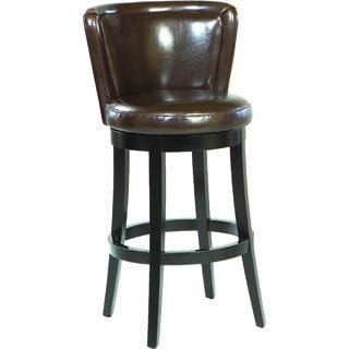 Armen Living Lisbon Leather Upholstered Swivel Barstool