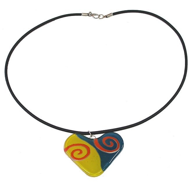 Fused Glass Teal/ Yellow Swirl Heart Necklace (Chile)