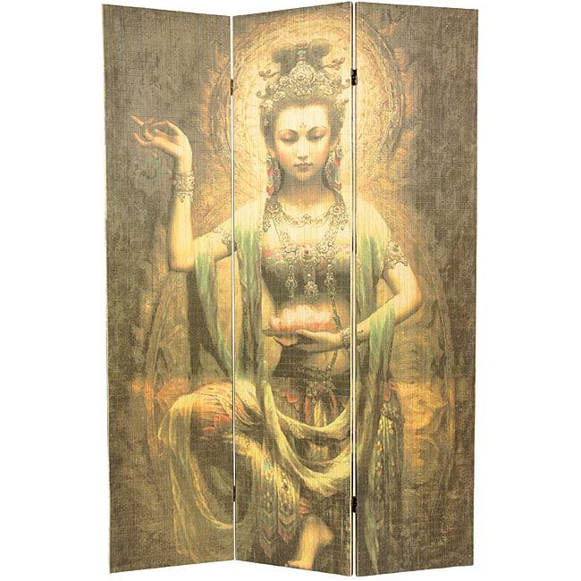 Handmade Kwan Yin with Lotus 6-foot Bamboo Room Divider (China)