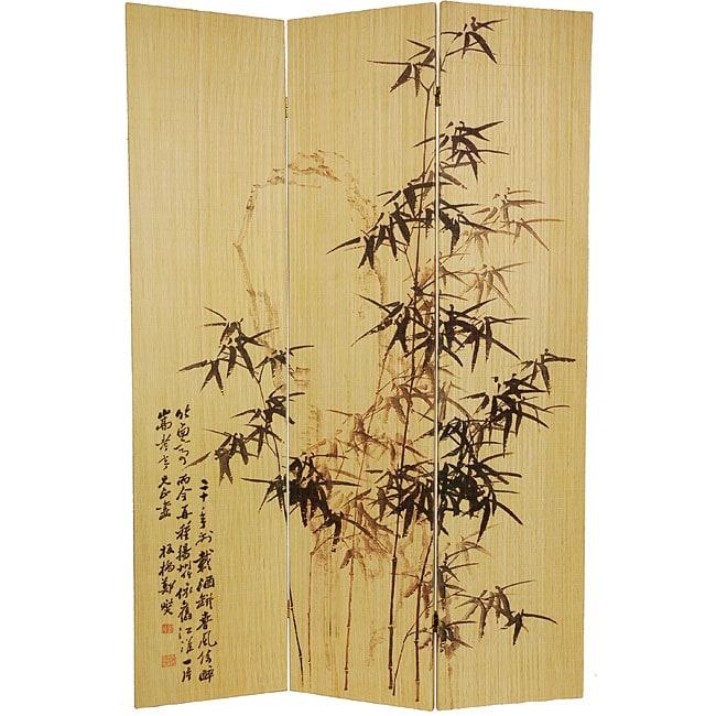Handmade Frameless Black Bamboo 6-foot Room Divider (China)