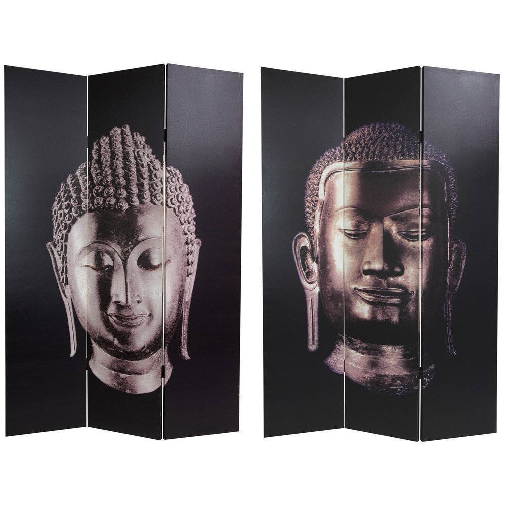 Canvas Double-sided Buddha Room Divider (China) - 70.8 x 48 (Double Sided Buddha Canvas Room Divider (China))