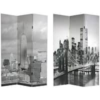 Handmade Canvas New York City Double-sided Room Divider (China)