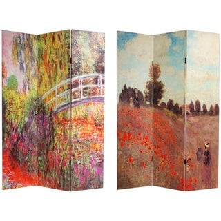 Handmade Canvas Double-sided Monet Paintings Room Divider (China)
