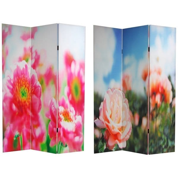Handmade Canvas Double-sided Summer Flowers Room Divider (China)