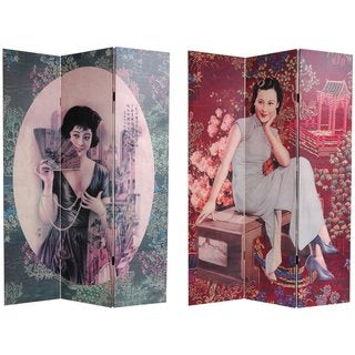 Handmade Shanghai Ladies Canvas Double-sided Room Divider (China)