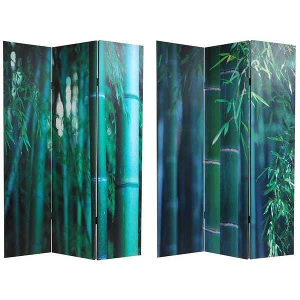Handmade Canvas Bamboo Tree Double-sided Room Divider (China)