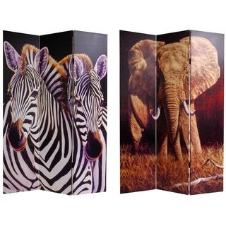 Handmade Canvas Double-sided Elephant/ Zebra Room Divider (China)