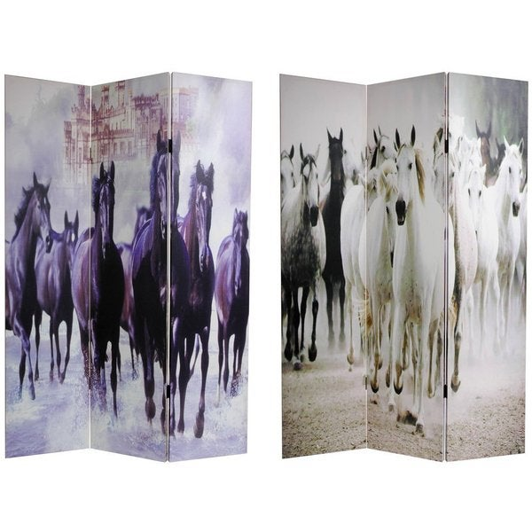 Canvas Double-sided Horses Room Divider (China)