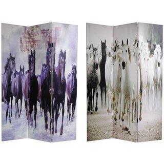 Handmade Canvas Double-sided Horses Room Divider (China)