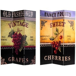 Handmade Canvas Double-sided Grapes and Cherries Room Divider (China)