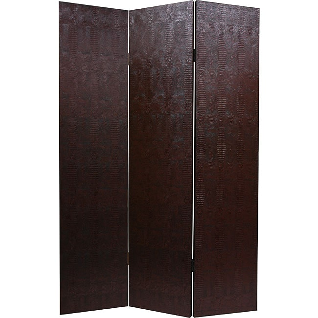 Handmade Faux Leather Brown Snakeskin Room Divider (China)