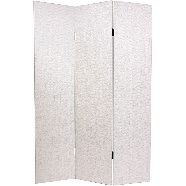 Handmade Faux Leather Antique White Snakeskin Room Divider (China)