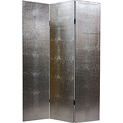 Handmade Faux Leather Silver Crocodile Room Divider (China)