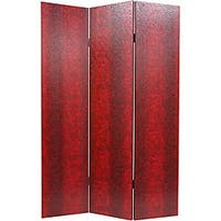 Handmade Faux Leather Red Snakeskin Double-sided Room Divider (China)