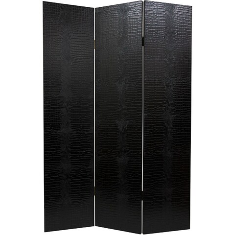 Handmade Wood and Faux Leather Black Crocodile Room Divider (China)