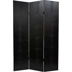 Wood and Faux Leather Black Crocodile Room Divider (China)