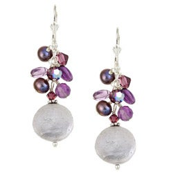 Lola's Jewelry Sterling Silver White Freshwater Coin Pearl and Amethyst Earrings (16 mm)