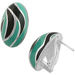 Fremada Sterling Silver Teal and Black Enamel Earrings