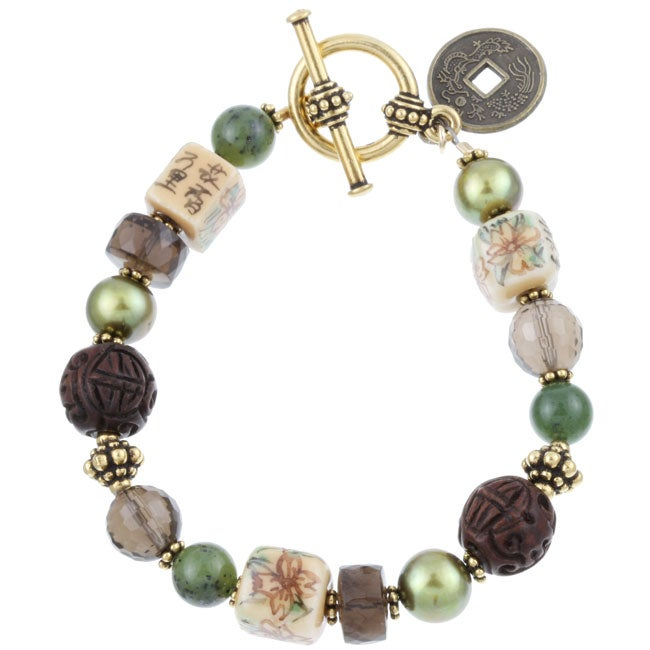 Charming Life Goldtone Asian Art Glass Cube Bracelet