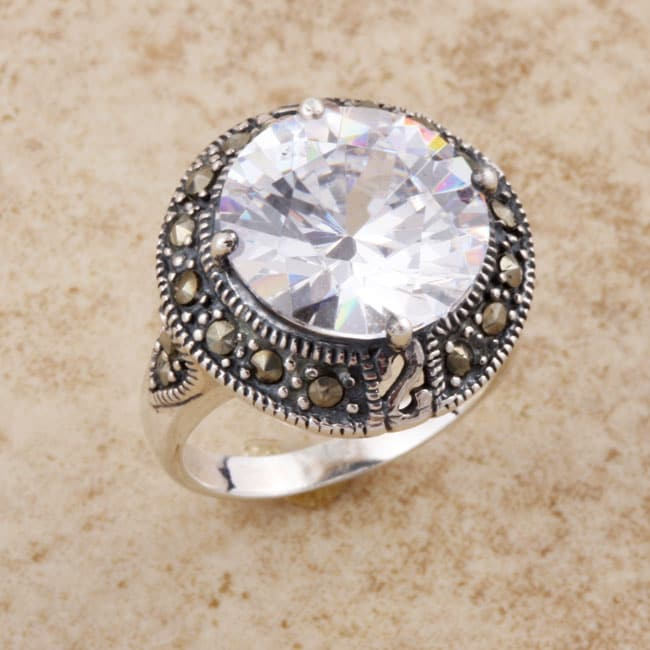 Sterling Silver Clear CZ and Marcasite Ring (Thailand)