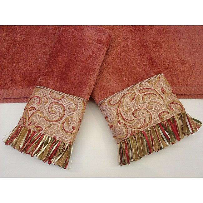 Sherry Kline Swirl Paisley Coral Decorative 3-piece Towel Set