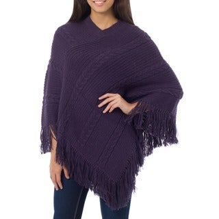 Handmade Alpaca Wool Double Plum Braids Purple Poncho (Peru)