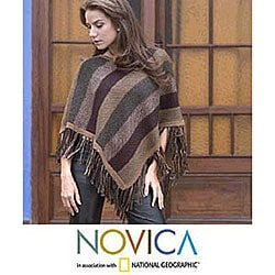 Alpaca Wool 'Earth Surprise' Poncho (Peru)