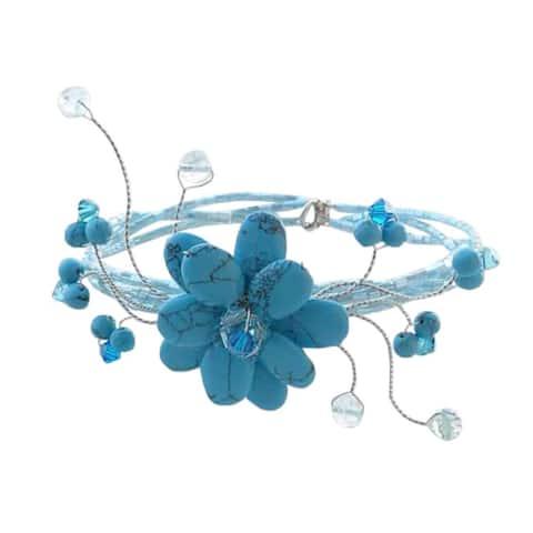 Handmade Sky Bouquet Turquoise Beaded Bracelet (Thailand)