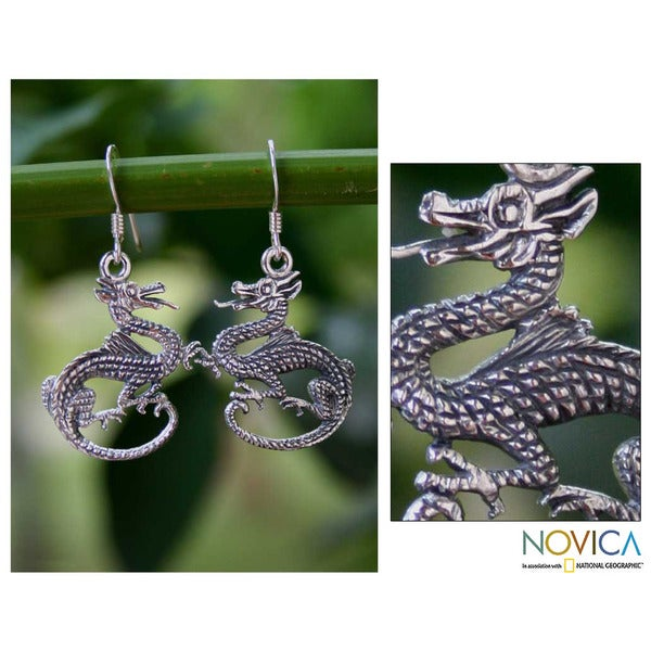 Handmade Sterling Silver 'Dragon Duet' Earrings (Thailand)