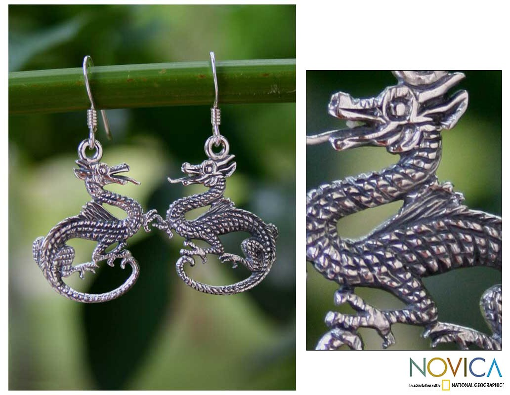Handmade Sterling Silver 'Dragon Duet' Earrings (Thailand)