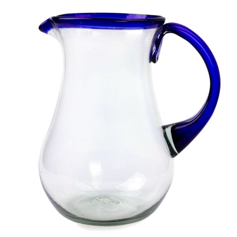 Handmade Glass Blue Grace Pitcher (Mexico)