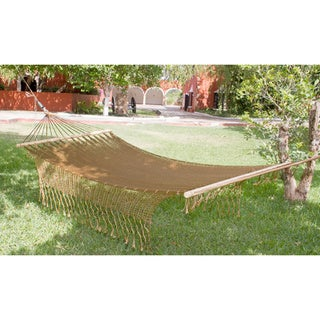 Maya Bronze Outdoor Garden Patio Pool Copper Color Vintage Look Handmade Knotted Macrame Fringe Nylon Single Hammock (Mexico)