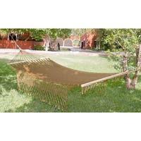 Handmade Maya Bronze Outdoor Garden Patio Pool Copper Color Vintage Look Knotted Macrame Fringe Nylon Single Hammock (Mexico)
