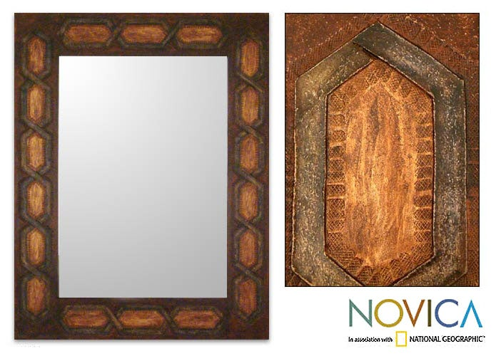 Helix Geometric Inca Design Home Decor Artisan Handmade Brown Gold Earth Tones Handsome Handtooled Leather Wall Mirror (Peru)