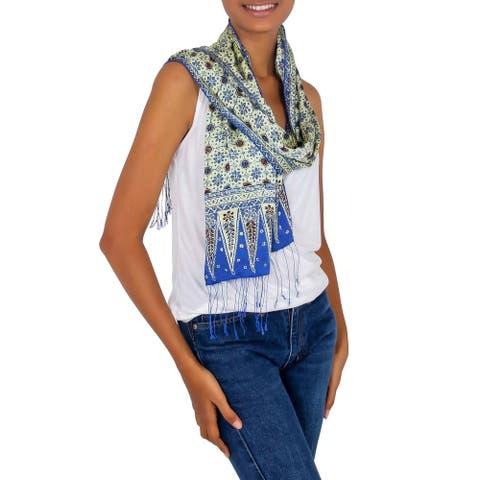 NOVICA Handmade Blue Jasmine Batik Silk Scarf (Indonesia)