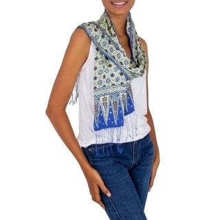 Handmade Handtamped Blue Jasmine Batik Silk Scarf (Indonesia)